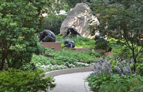 Exterior walkway and sculptures